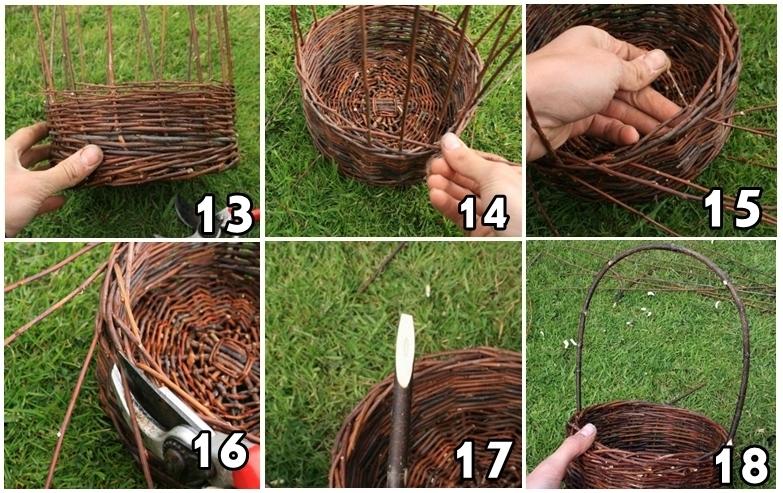 Схема плетения корзины из лозы